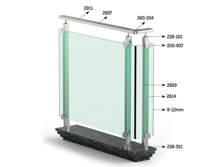 ringhiera alluminio quadrata matina