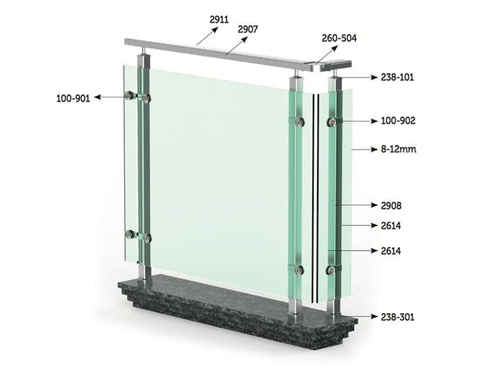 ringhiera quadrata alluminio matina